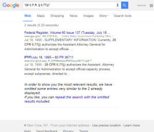 28 C.F.R. § 0.77 j Google Search